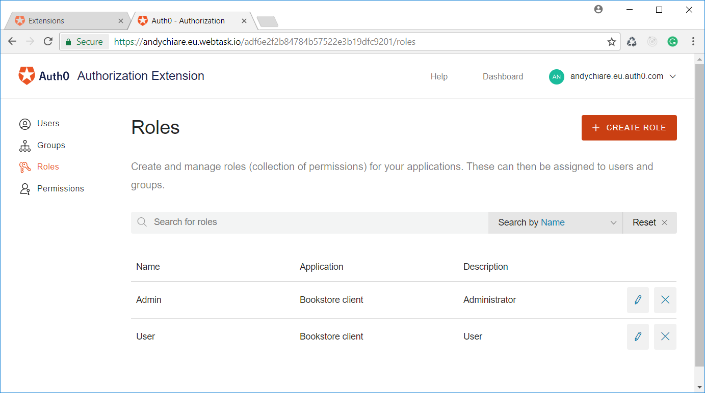Configuring permissions and roles