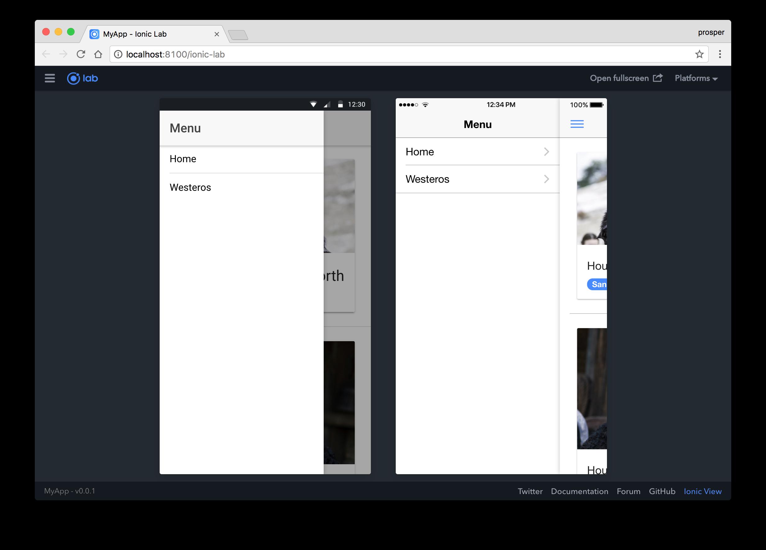 Sidemenu - GOT app