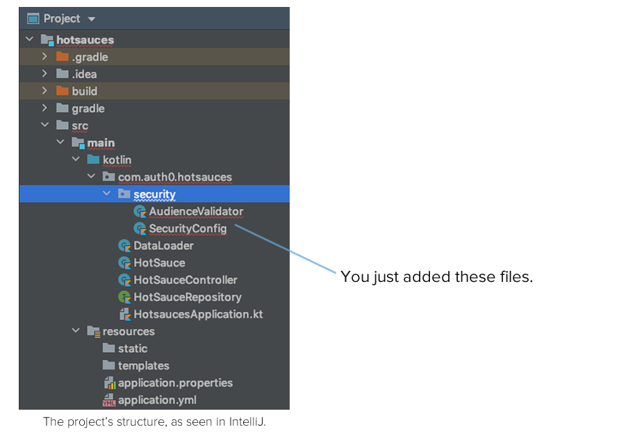 Project file structure, showing the newly-added AudienceValidator and SecurityConfig files