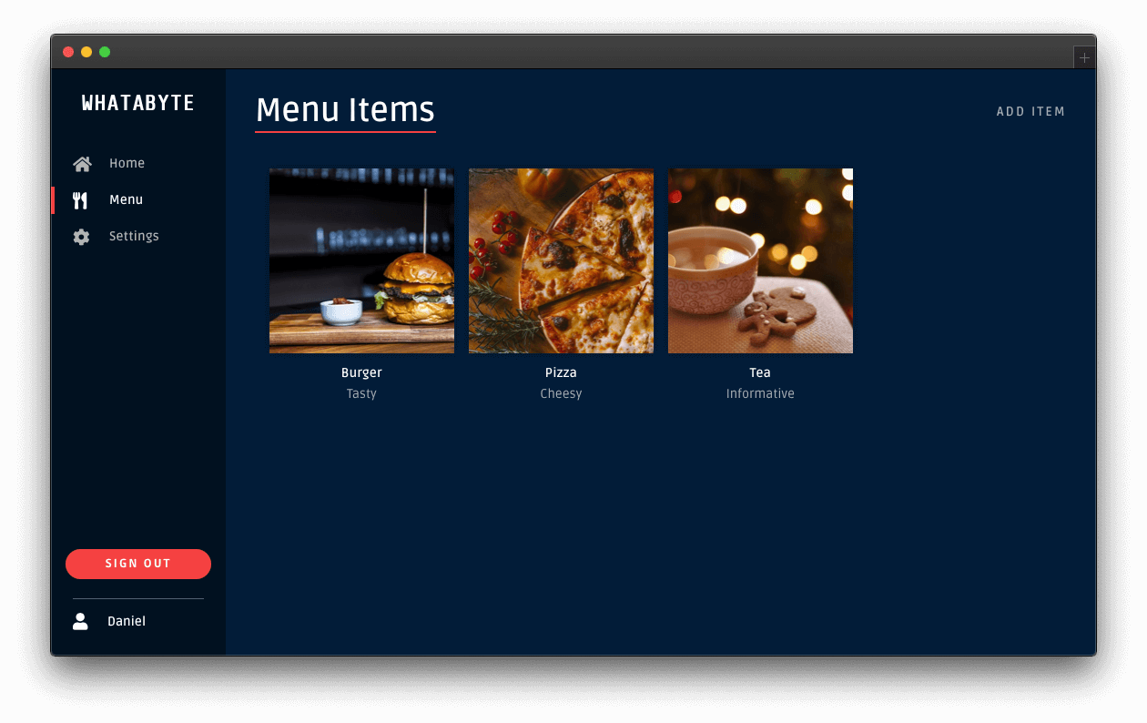 Menu page after user logs in