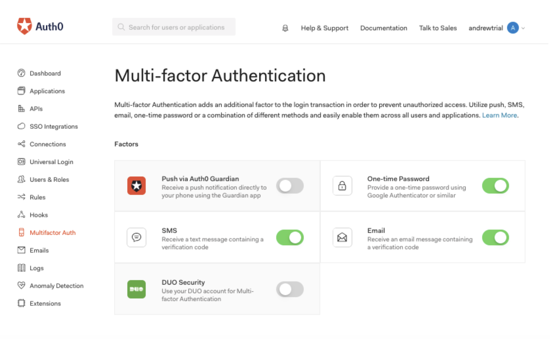 Multi-Factor Authentication Auth0