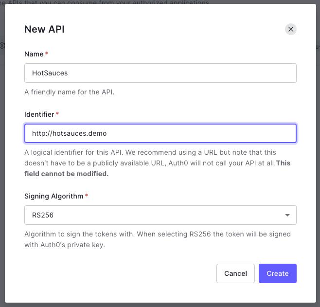 New API pop-up form