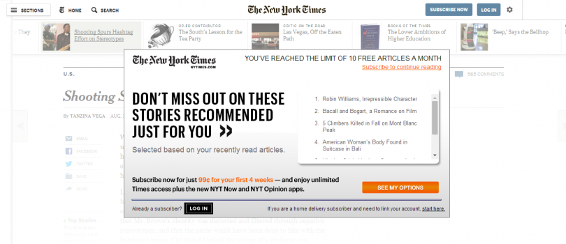 Metered paywalls give users access to a fixed amount of articles before they are forced to subscribe