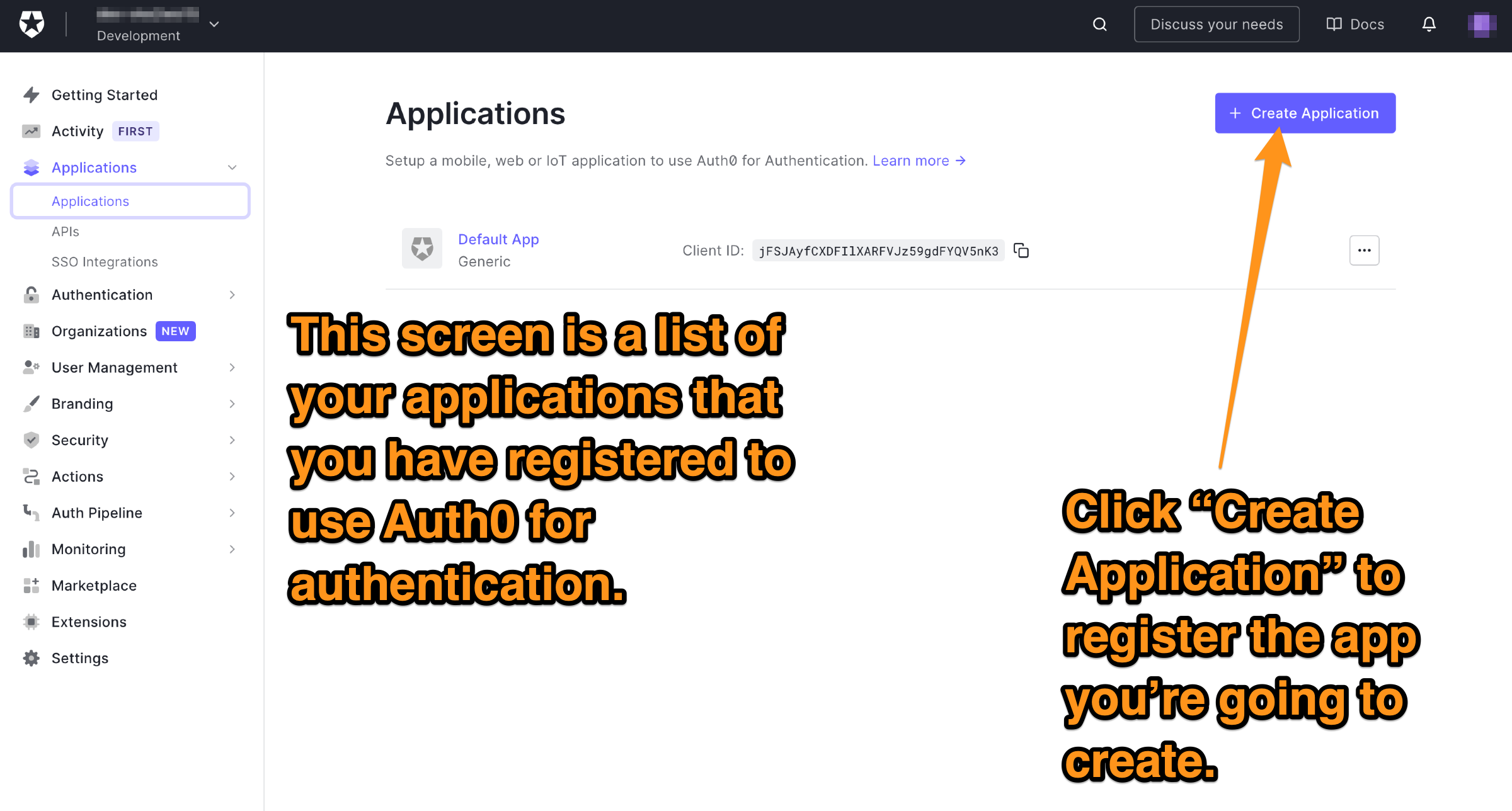 """The """"Applications"""" page. The reader is directed to click the """"Create Application"""" button."""