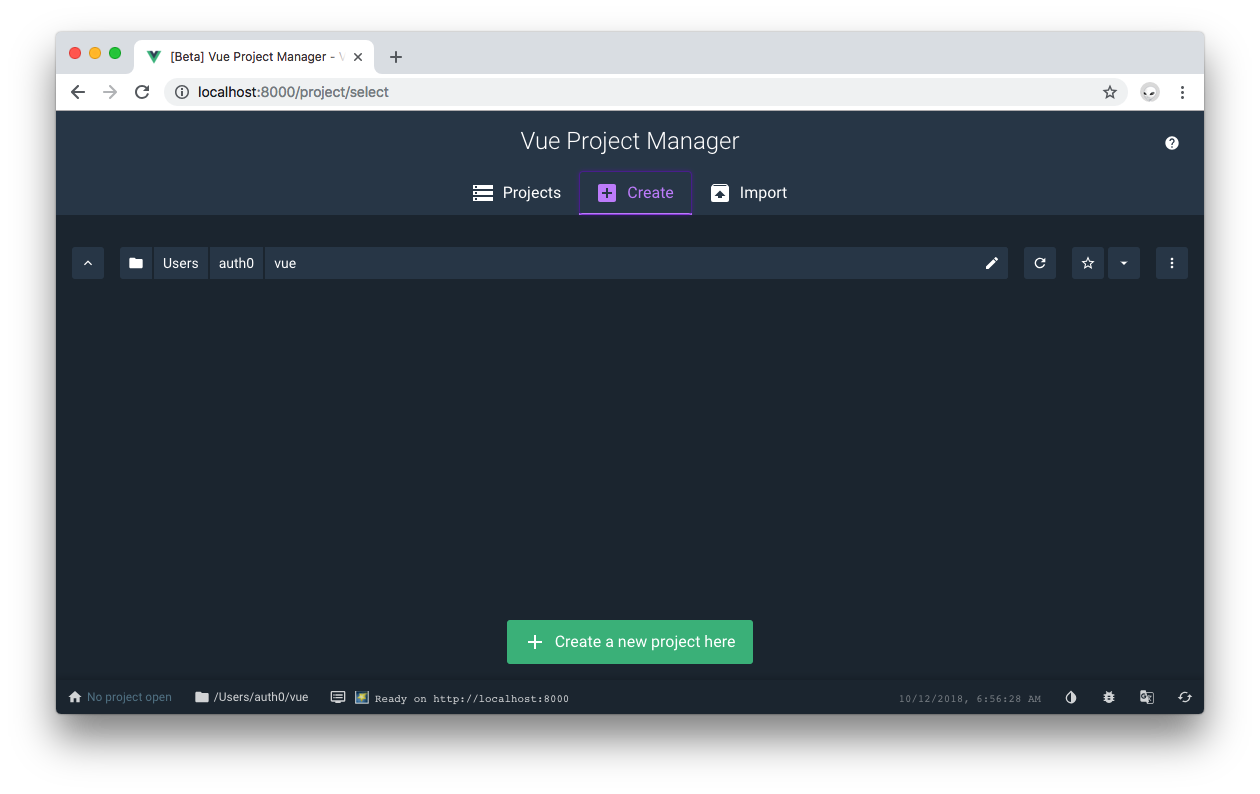 Vue Project Manager Create project tab.