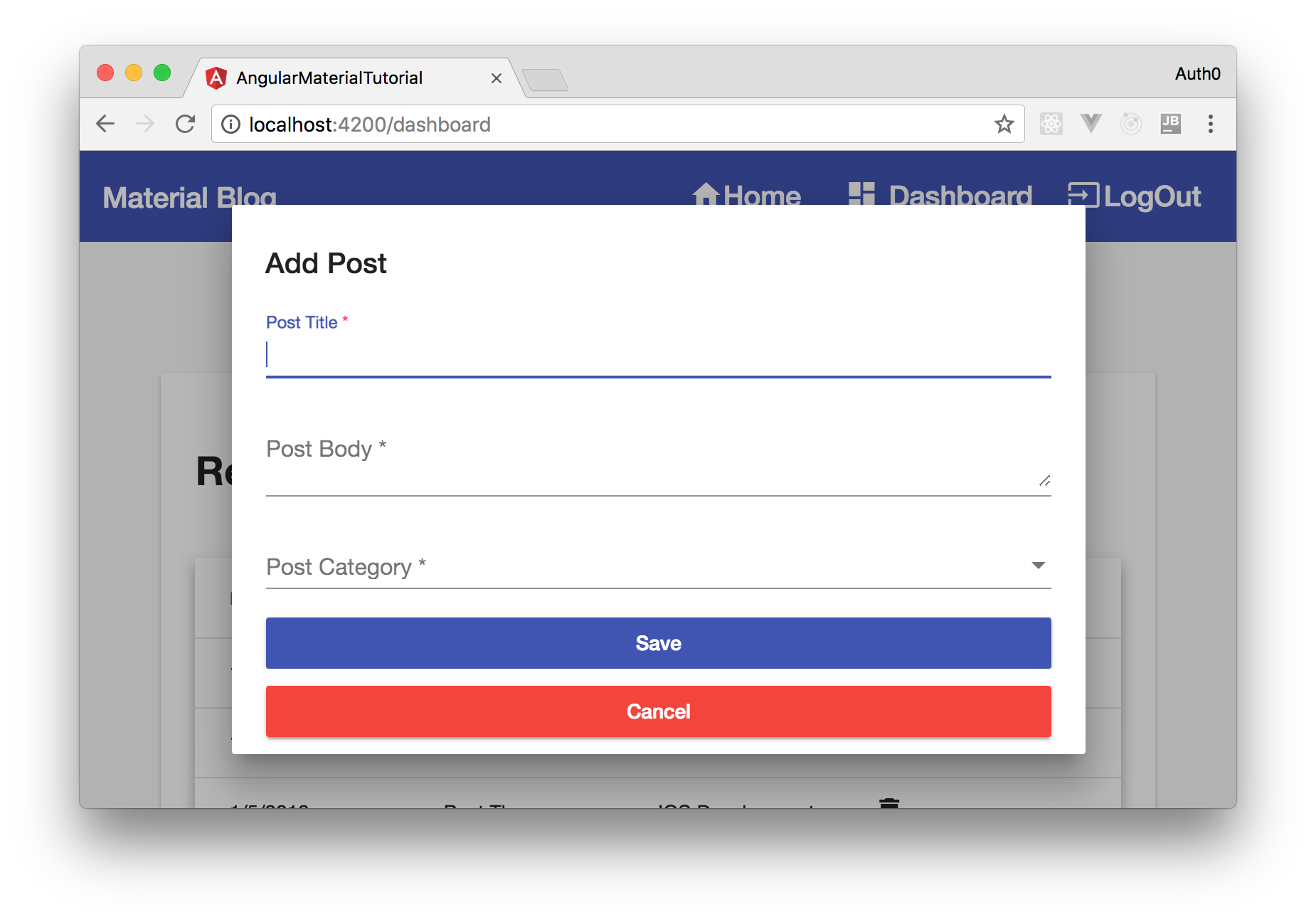 Angular Material components - showing the dialog component