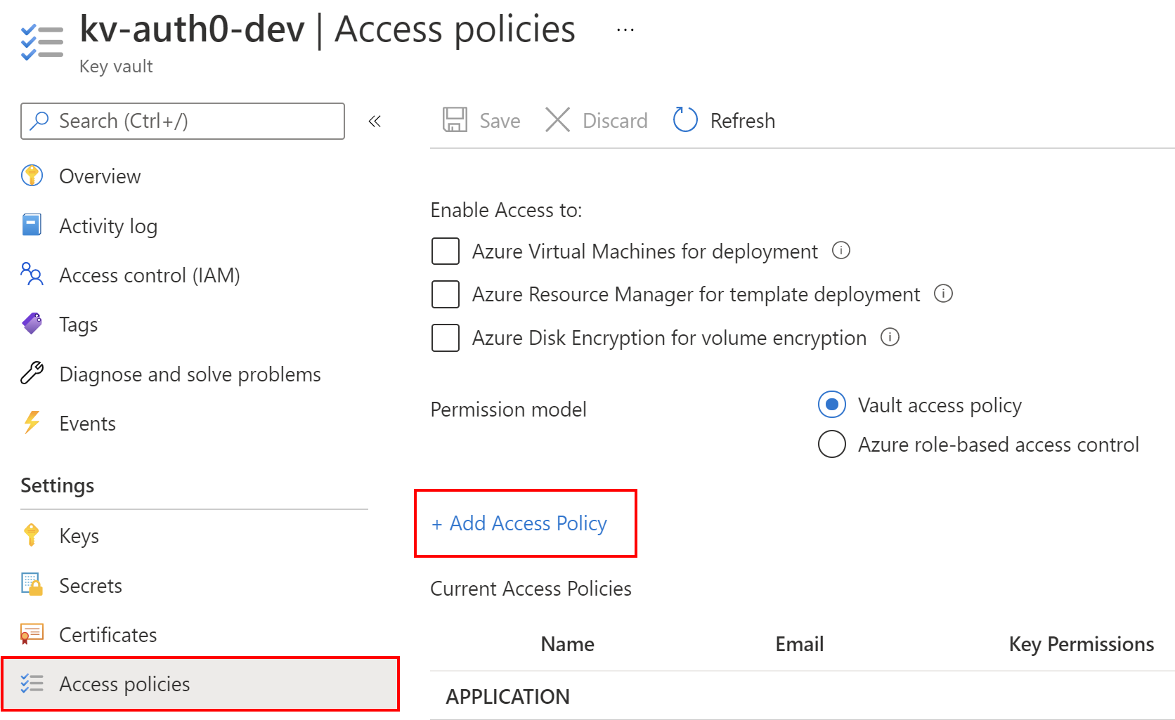 Access policy setup in Key Vault