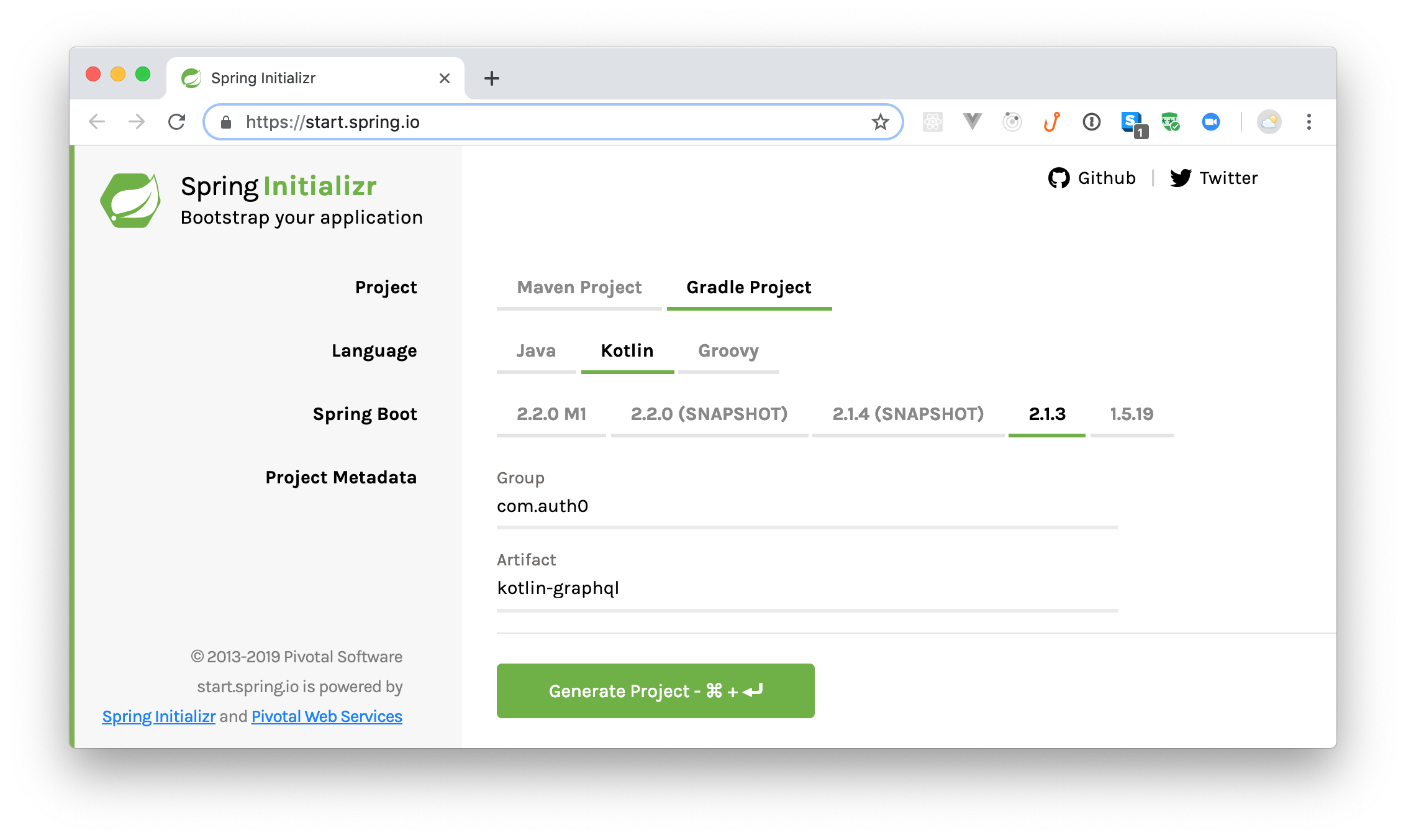 Scaffolding your Kotlin and Spring Boot application.