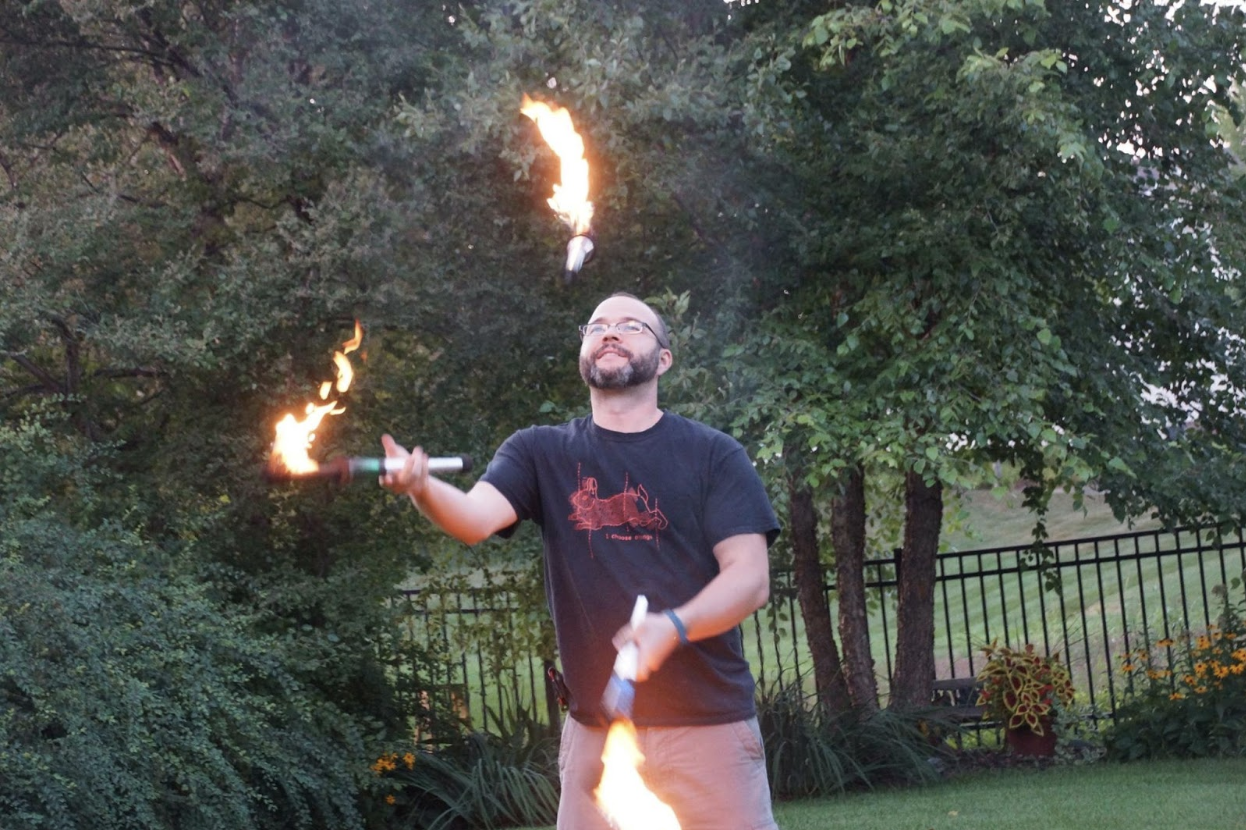"""Auth0 Senior Solutions Architect Carlos Mostek fire juggling"""""""