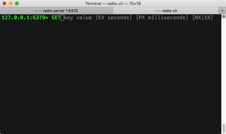 Redis CLI showing syntax suggestions