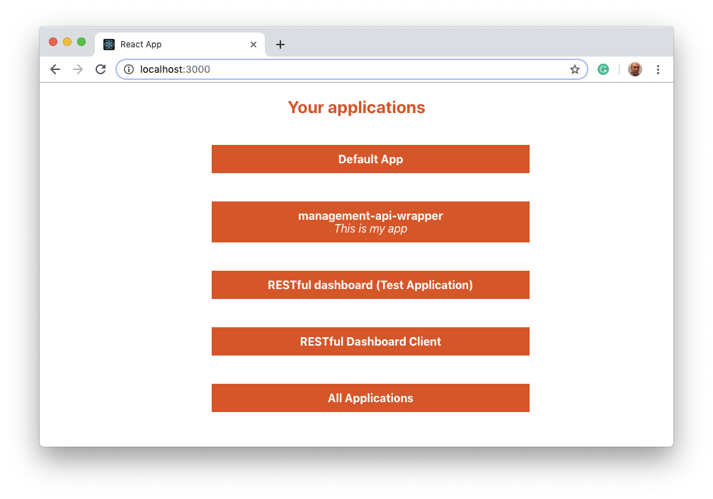 Auth0 application list