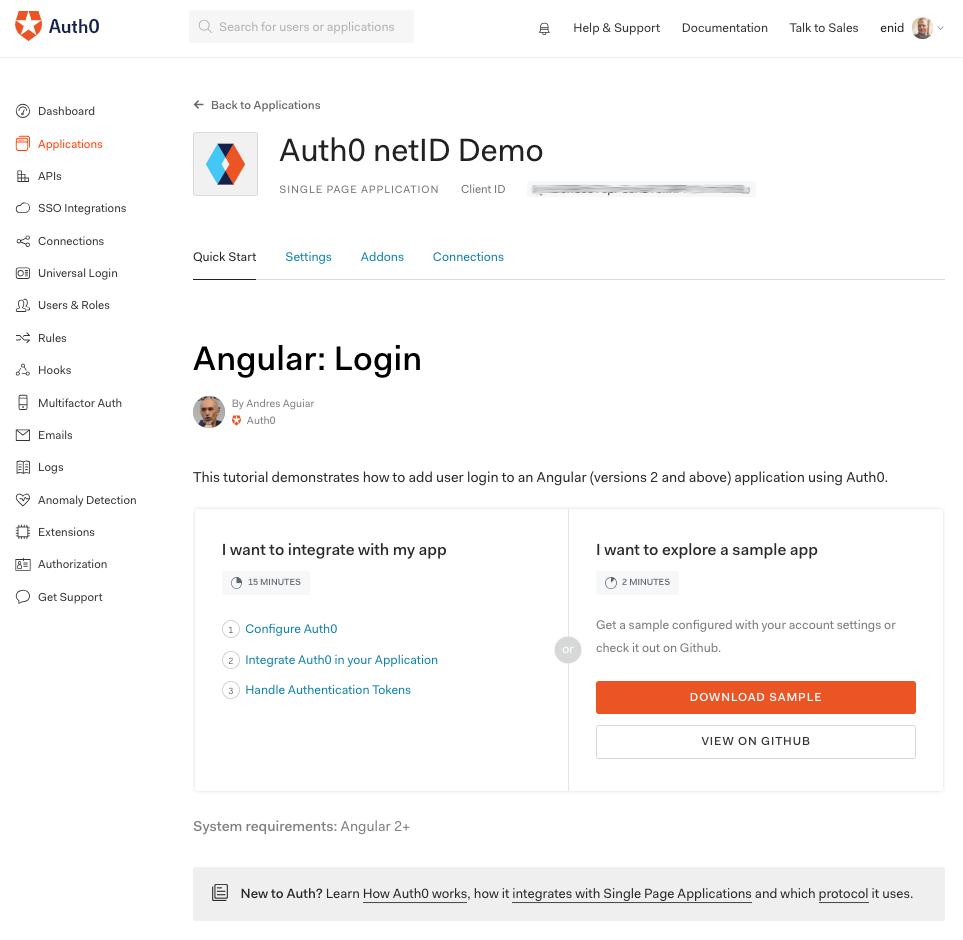 Angular quickstart page