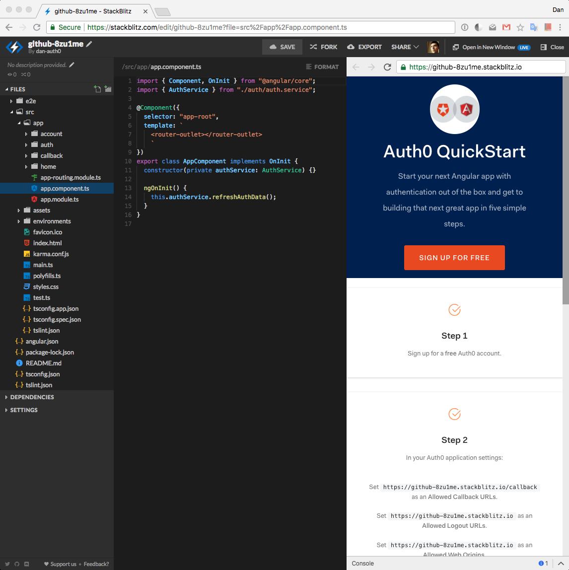 StackBlitz online editor main view
