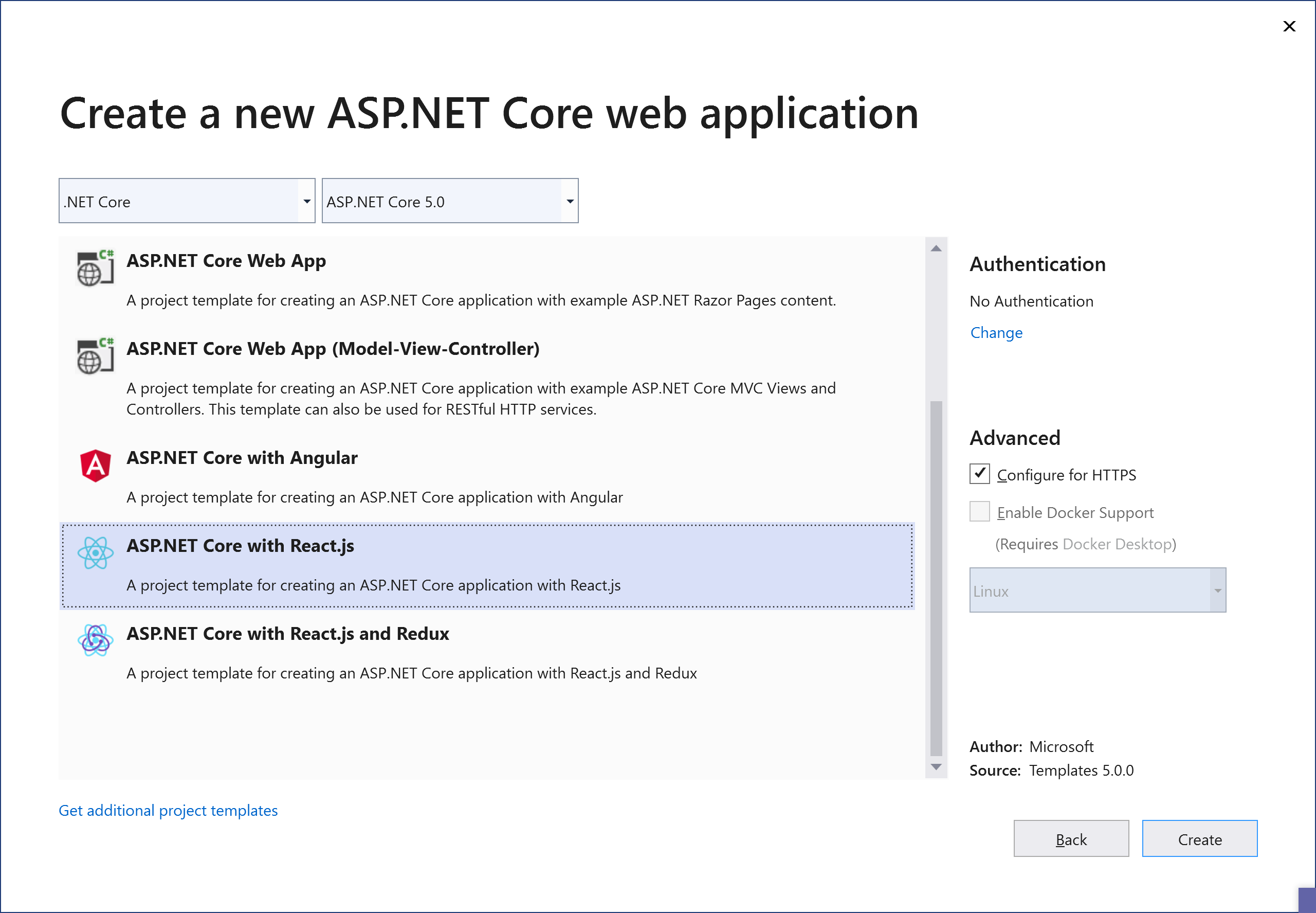 Available templates for SPA and ASP.NET Core