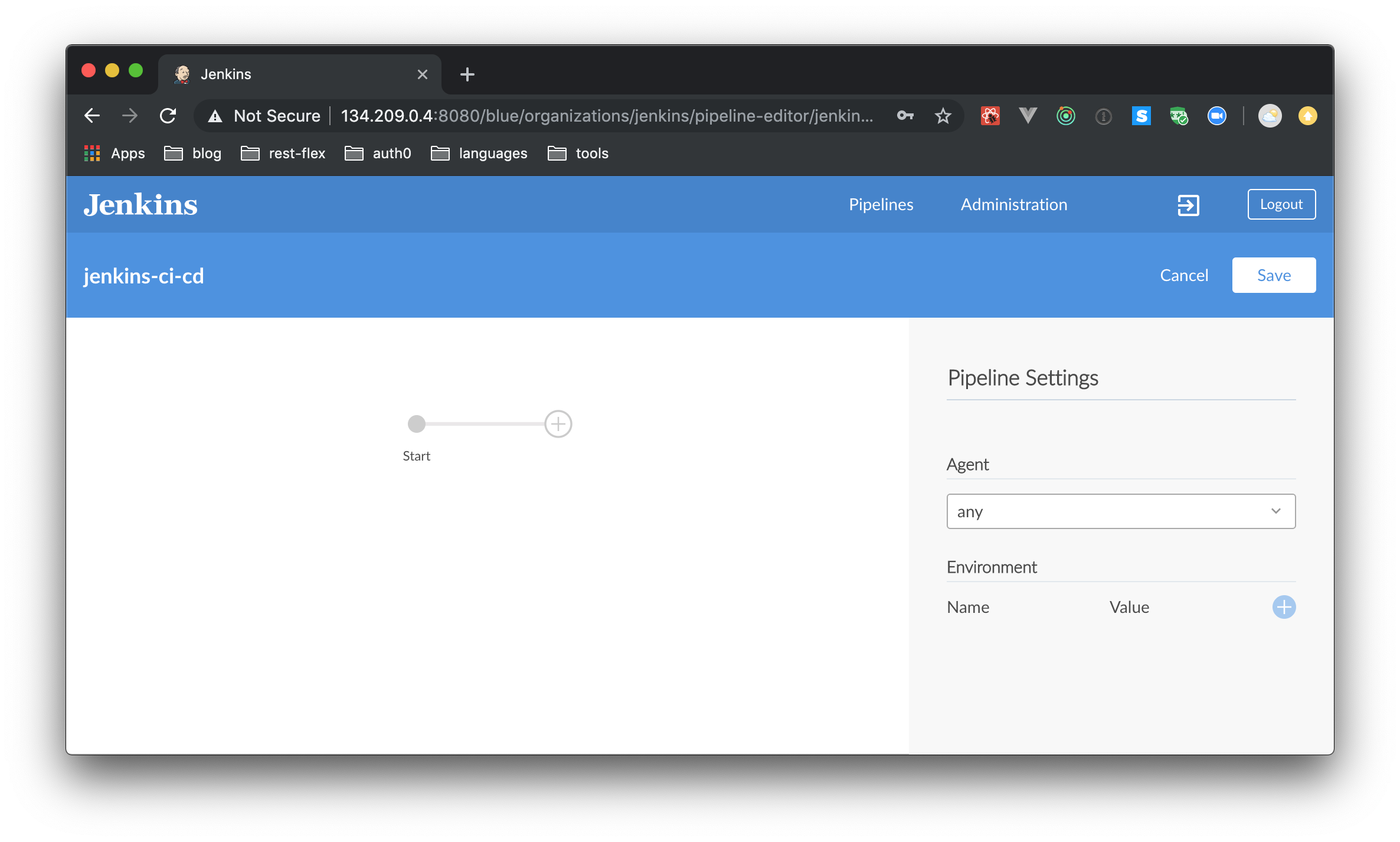 Using Jenkins to create a new pipeline on a GitHub repository.