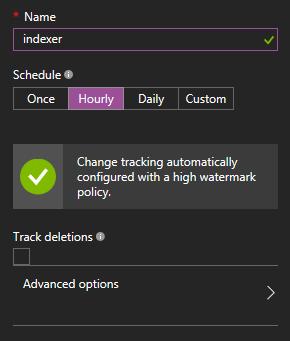Configuring indexing schedule