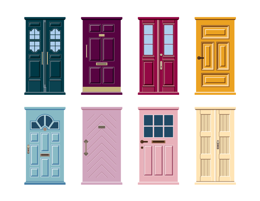 Doors metaphorically representing the UX and UI of an app's login form flow.