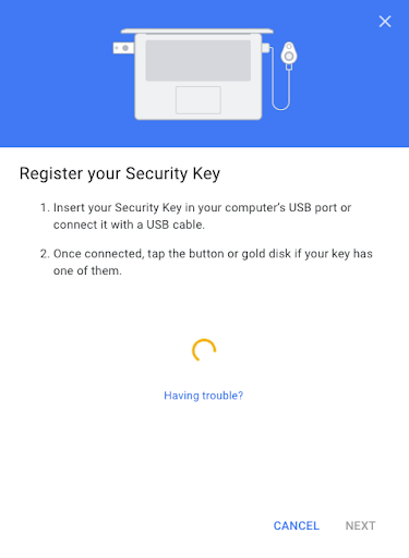 Security key with Google