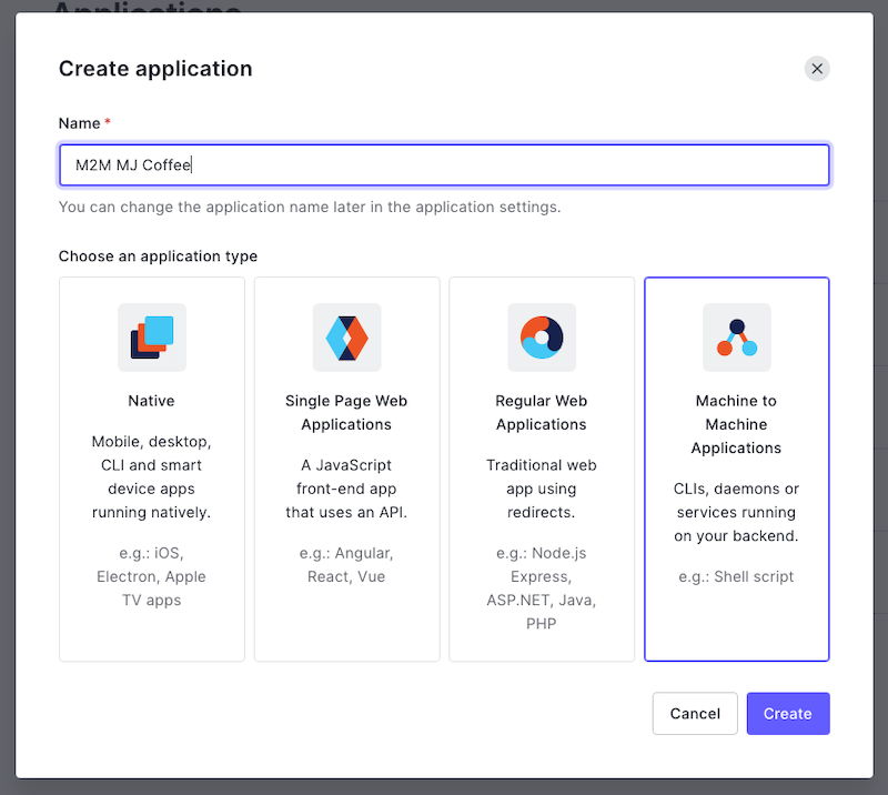 Creating a new M2M application in the Auth0 dashboard
