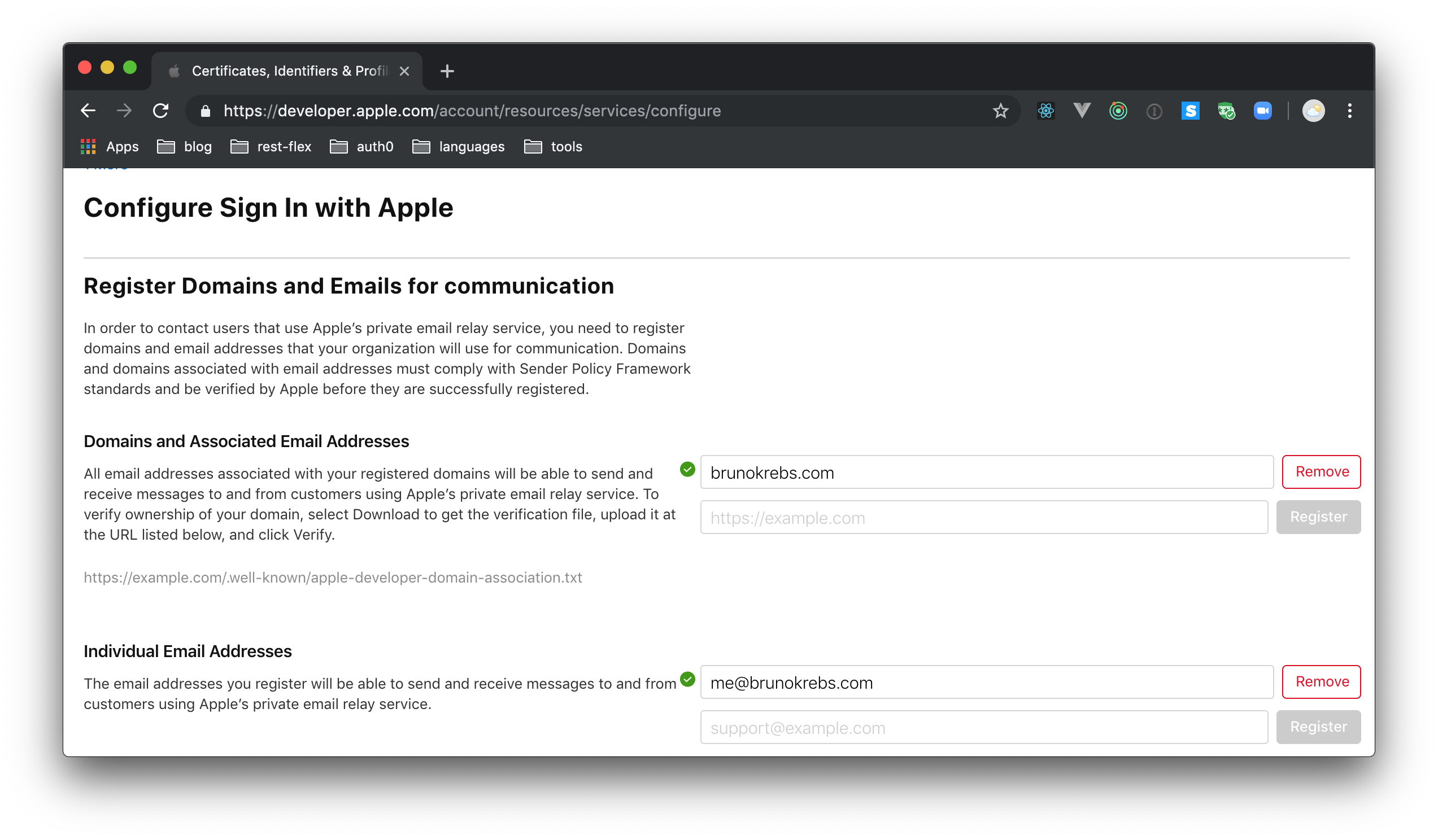 Apple Developer - Configuring Sign In with Apple - Email Relay Service