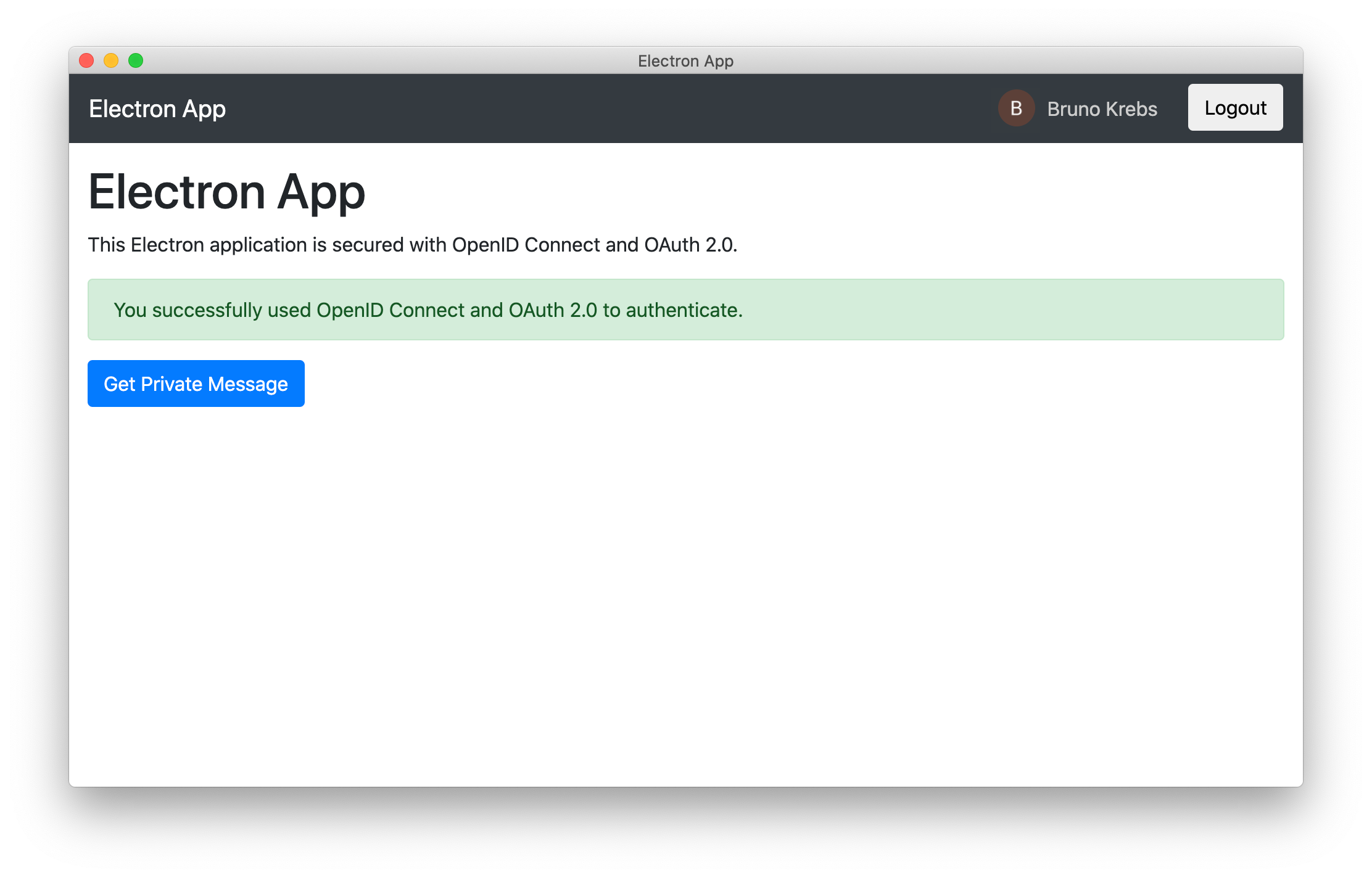 Electron home screen after authentication