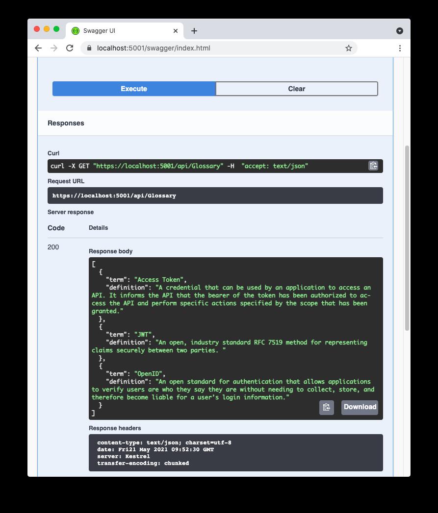 Web API response in Swagger UI