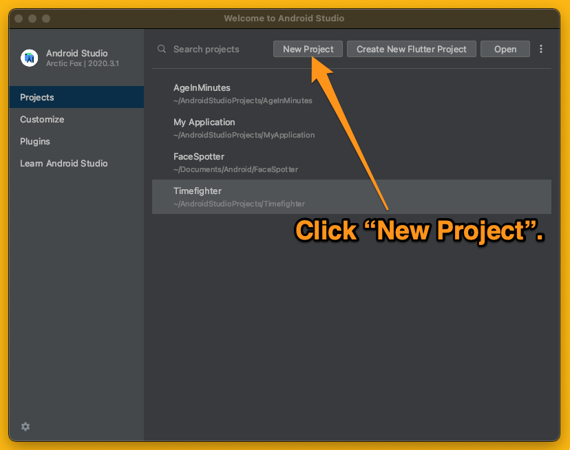 """Android Studio's """"Welcome to Android Studio"""" screen. An arrow directs the reader to click the """"New Project"""" button."""