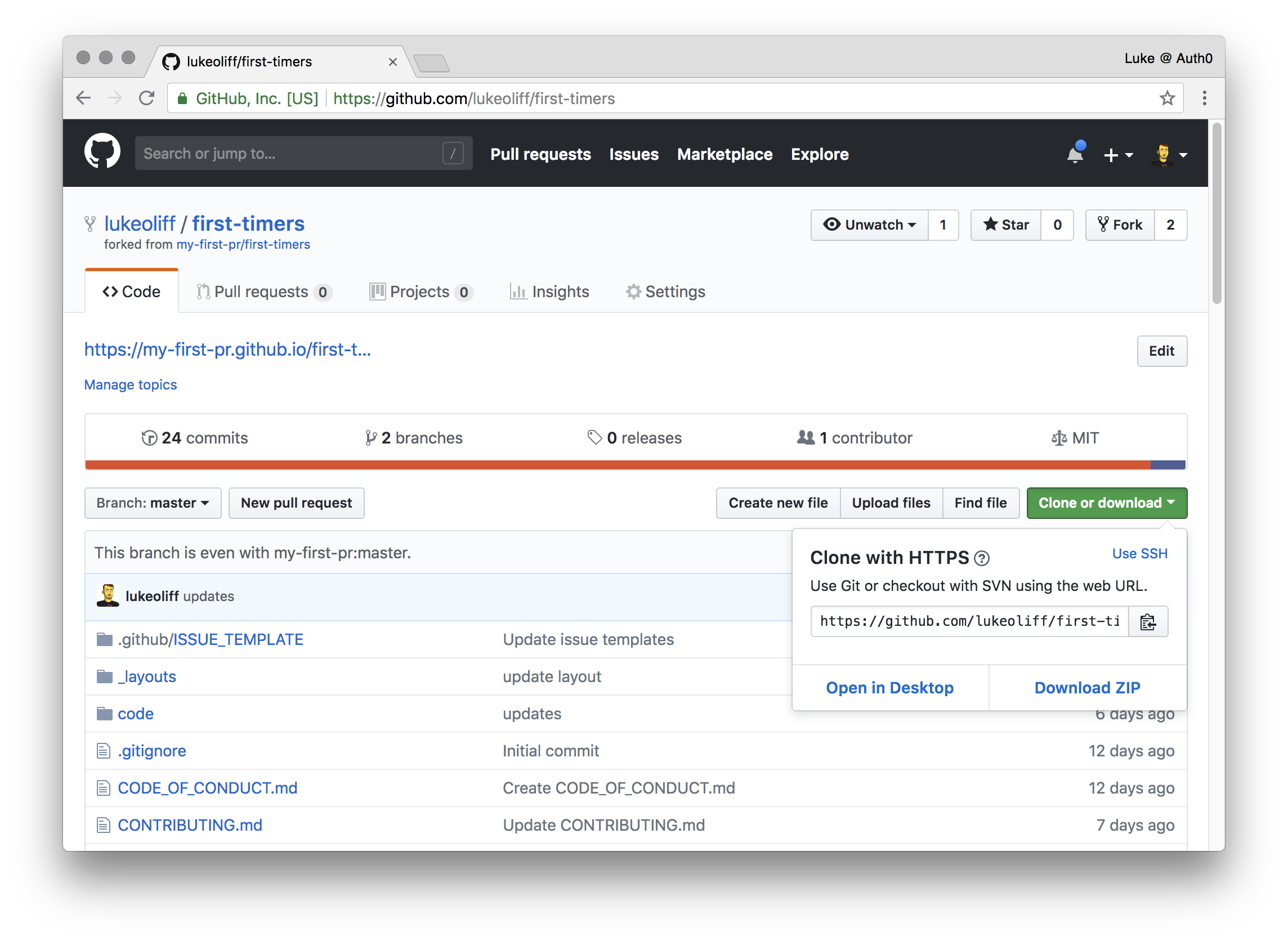 Get the clone URL from GitHub