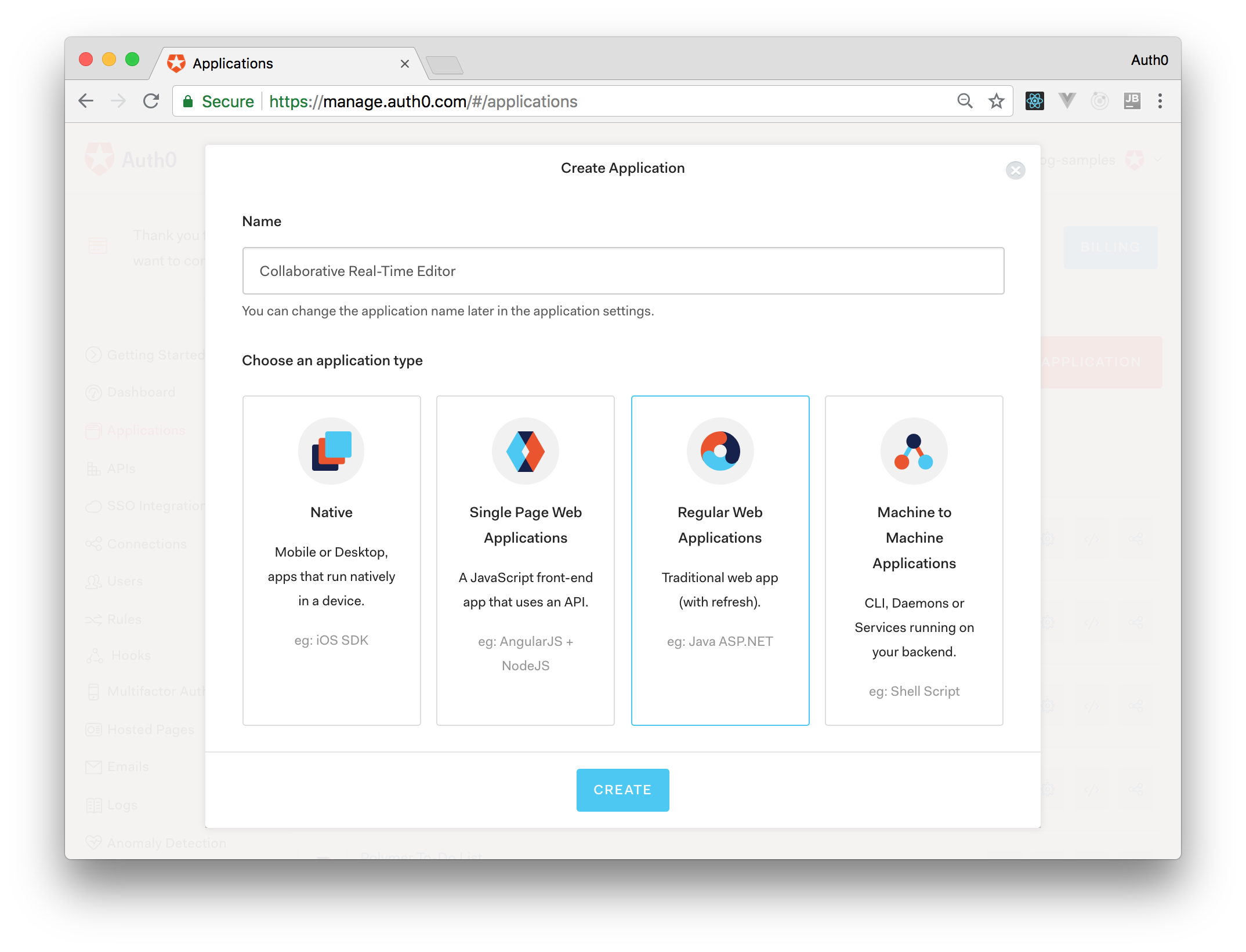 Creating an Auth0 Application