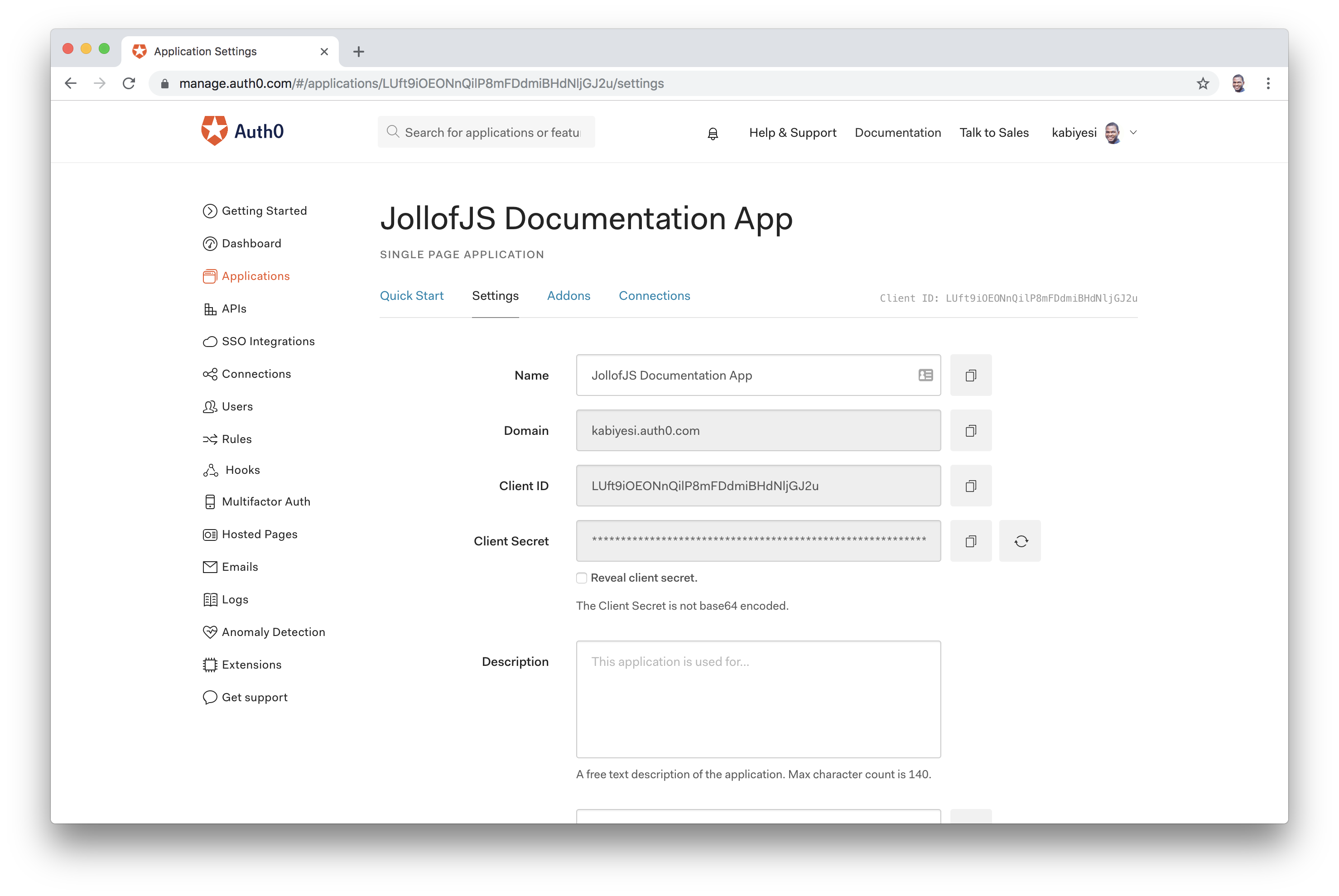 Auth0 Dashboard Project App Settings