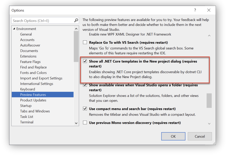 Enable CLI templates in Visual Studio on Windows