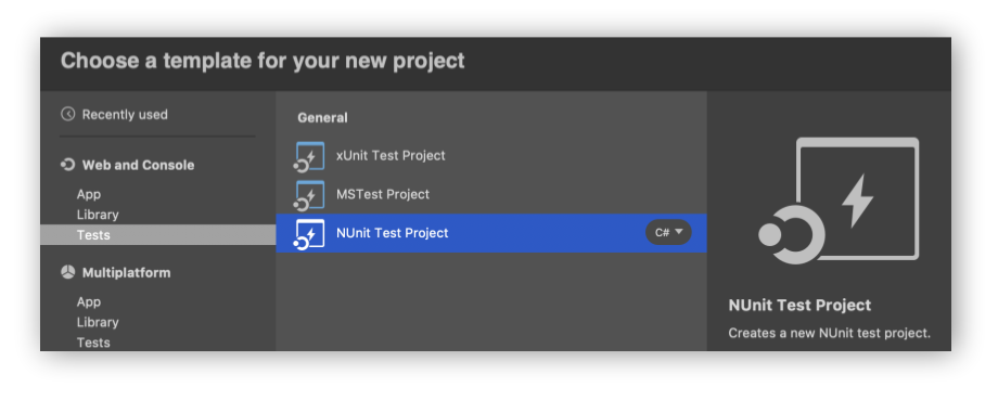 NUnit Test Project in Visual Studio for Mac