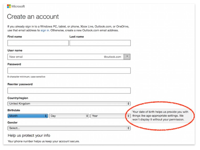 Microsoft form explaining usage of birthdate