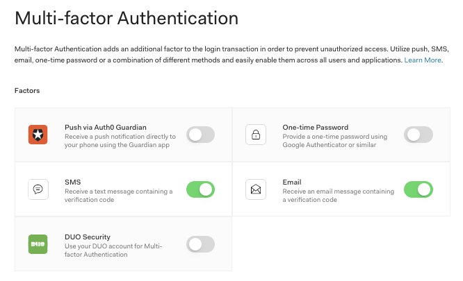 Auth0 Management Dashboard showing Email MFA enabled