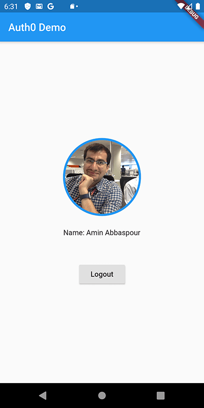 Flutter Android profile screen