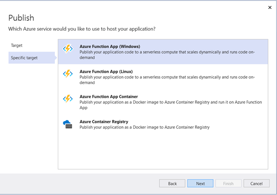 Specify the Azure Service to host your application