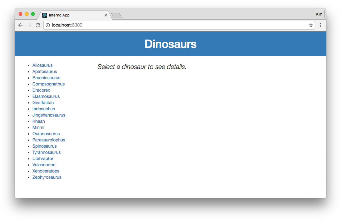 Inferno app displaying list of dinosaurs from API with no details