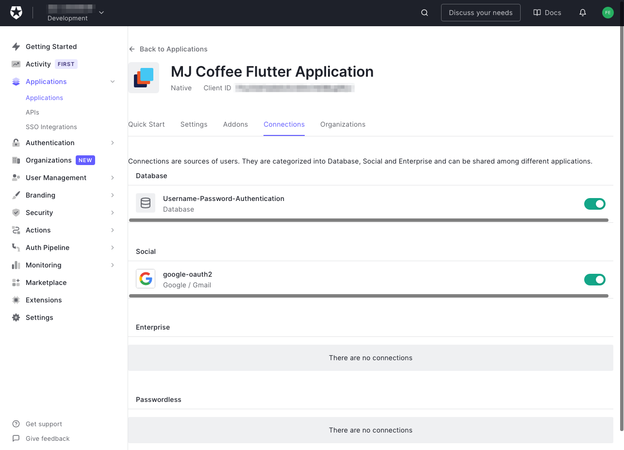 """The """"Connections"""" tab for the """"MJ Coffee"""" application in the Auth0 dashboard. The user is directed to click the """"Connections"""" tab."""