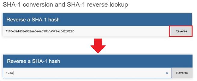 SHA-1 conversion and lookup