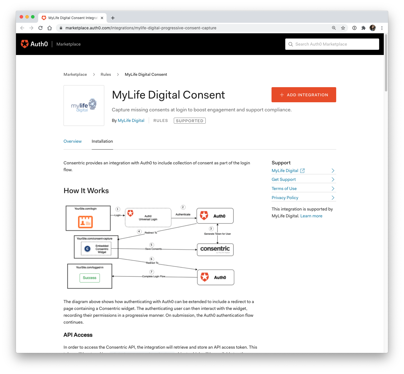 MyLife Digital Auth0 Marketplace integration