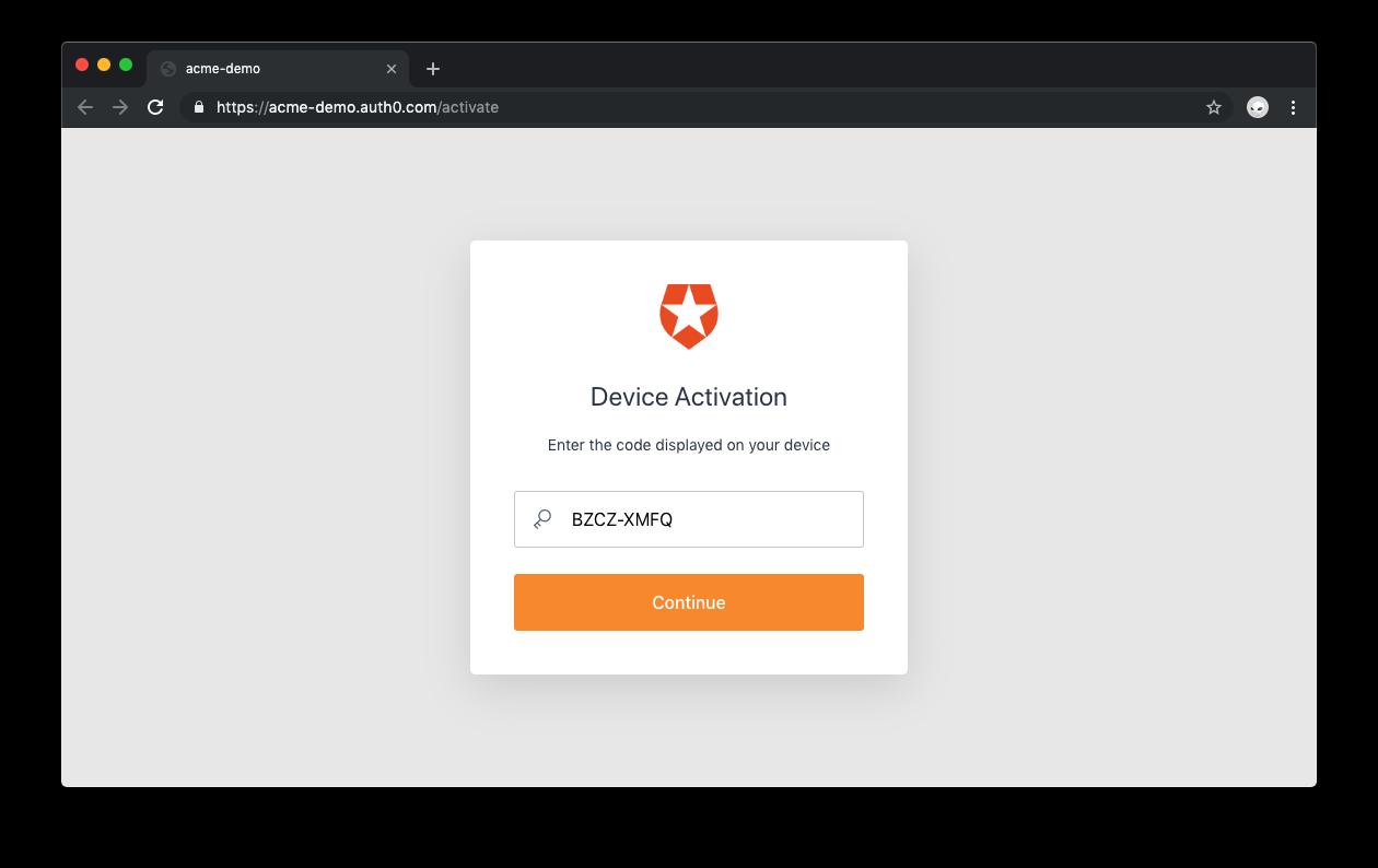 Auth0 Device Flow:デバイスのアクティベーションコード