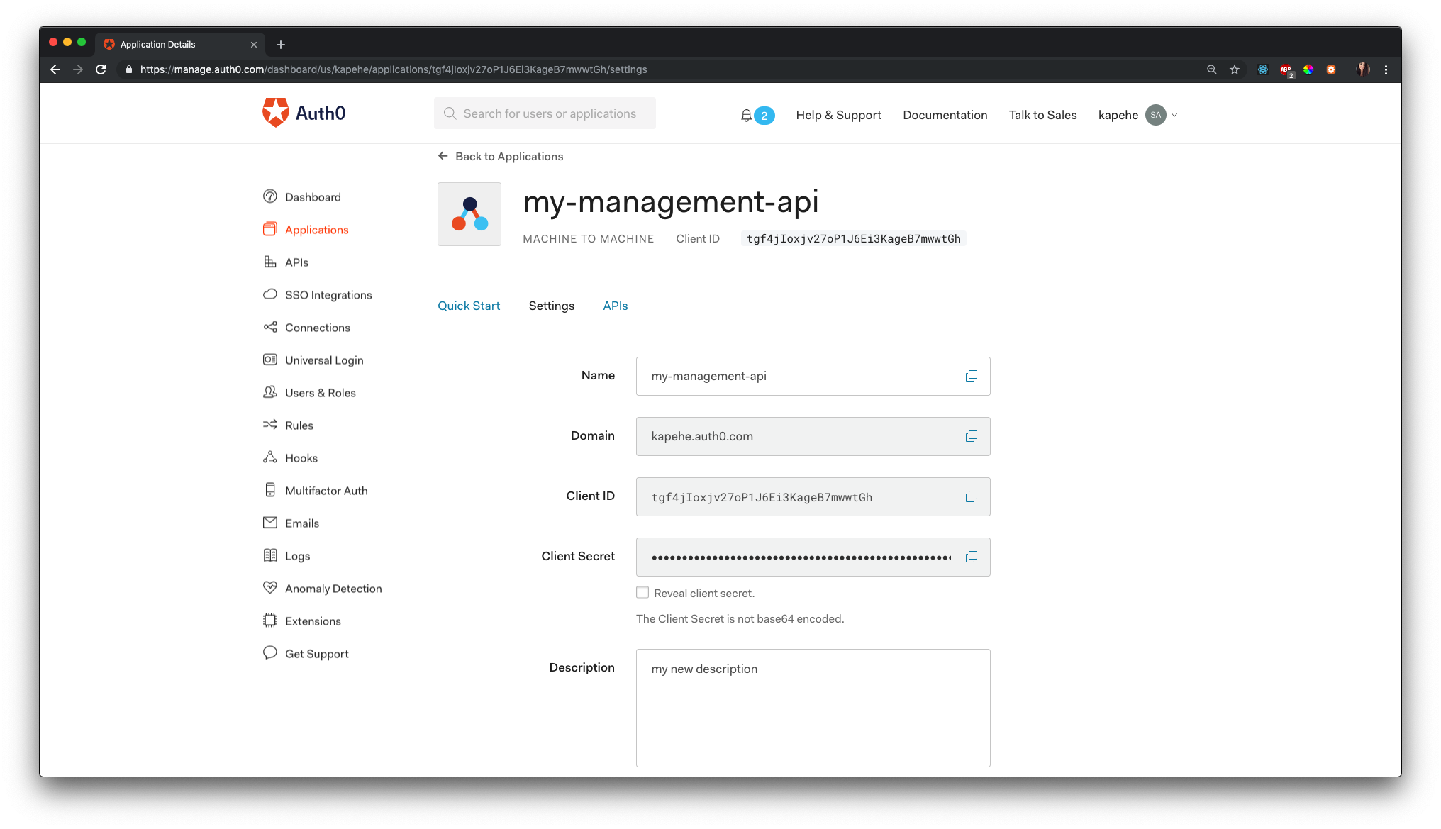 Auth0 application view with updated name and description