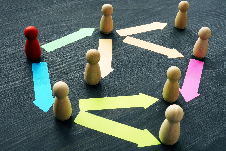Image of wooden dowels respresenting a team, teamwork, management, and delegation of tasks