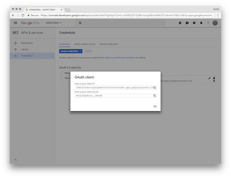 OAuth Client ID and Secret