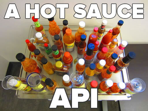 A Hot Sauce API (A tray of hot sauce bottles, viewed from above))