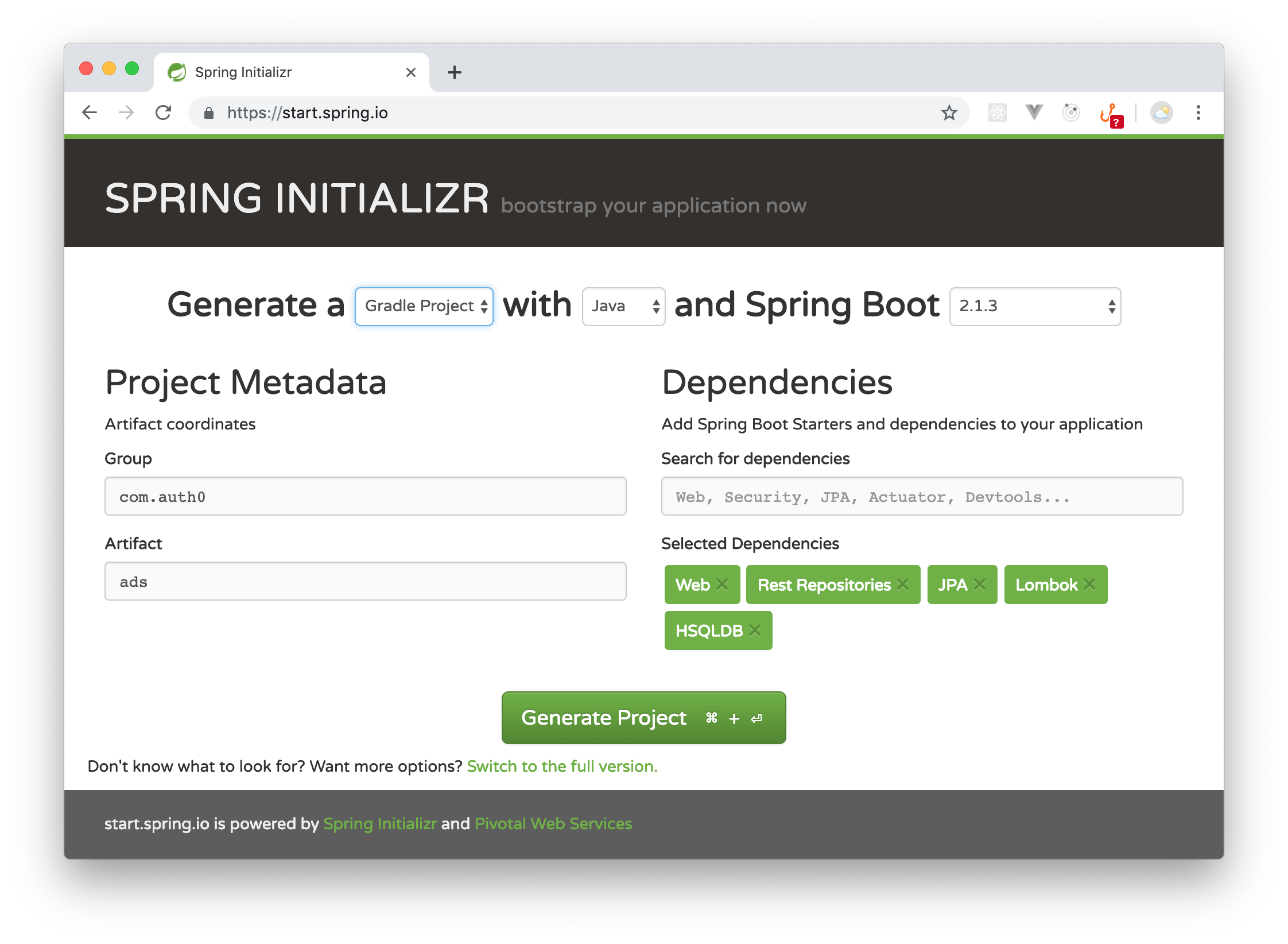 Scaffolding the Spring Data REST application.