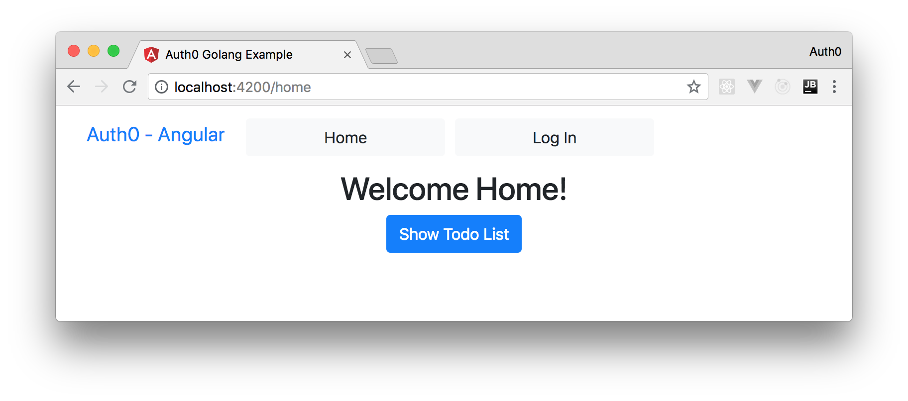 The home page of your Angular to-do list
