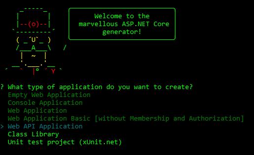 Running Yeoman to create the API
