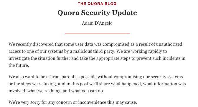 Quora Security Incident