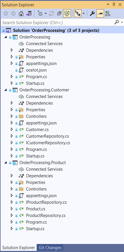Solution Structure of the OrderProcessing Application